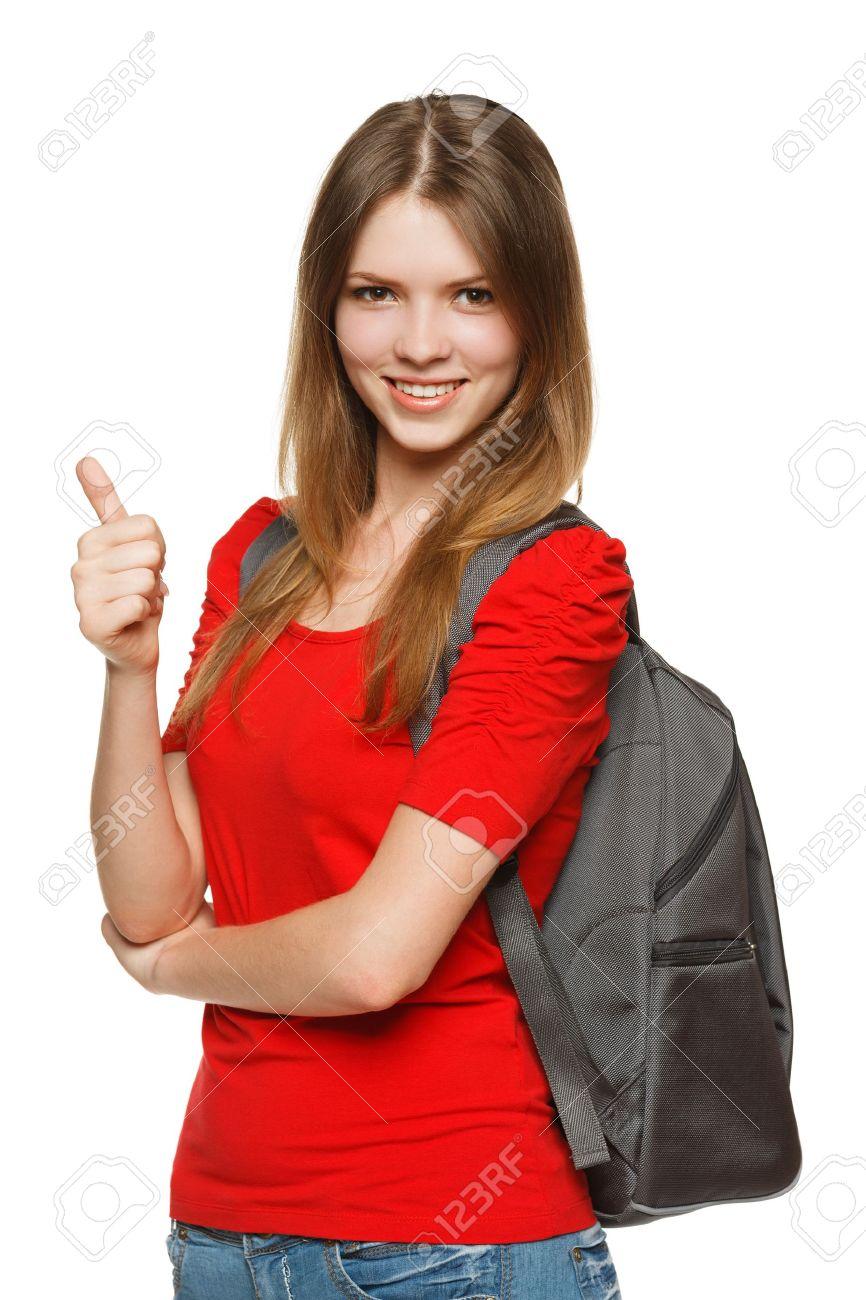 Female university student showing thumb up sign, isolated on white background Stock Photo - 15121824