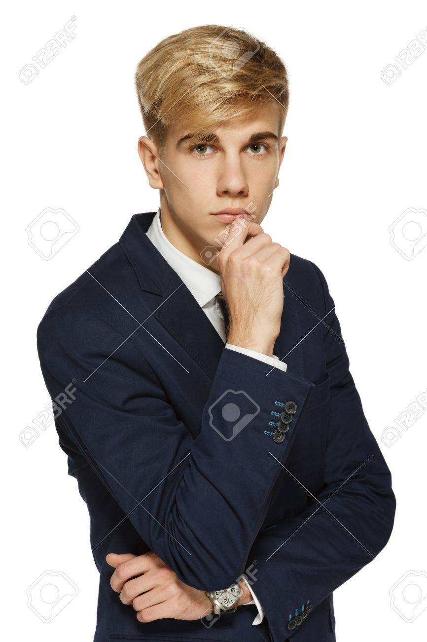Handsome young man with chin on hand, over white background Stock Photo - 16032378