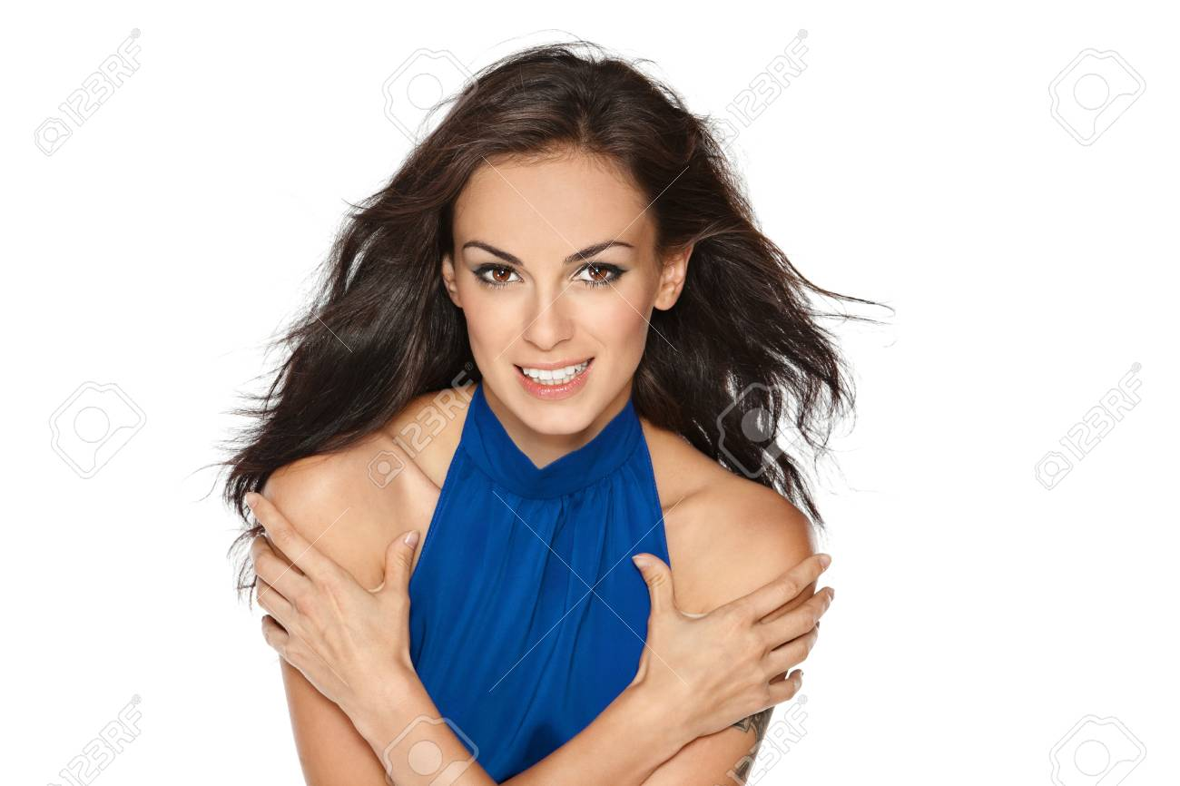 Close up portrait of fashion model posing over white background Stock Photo - 16686753
