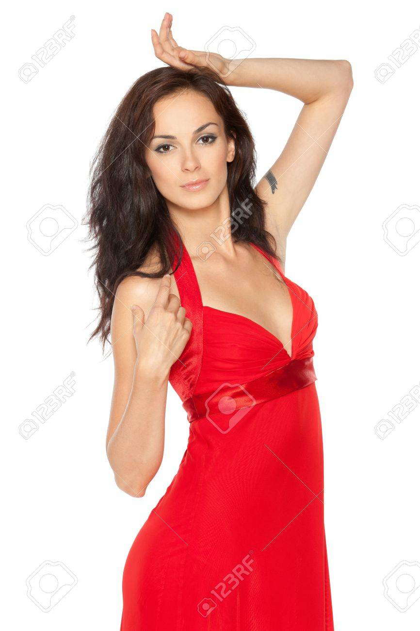 Beautiful Female Fashion Model Posing In Red Dress Over White ...