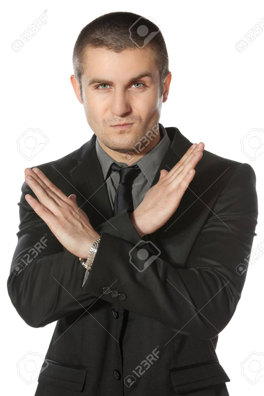Young business man making enough gesture over white background Stock Photo - 17281690