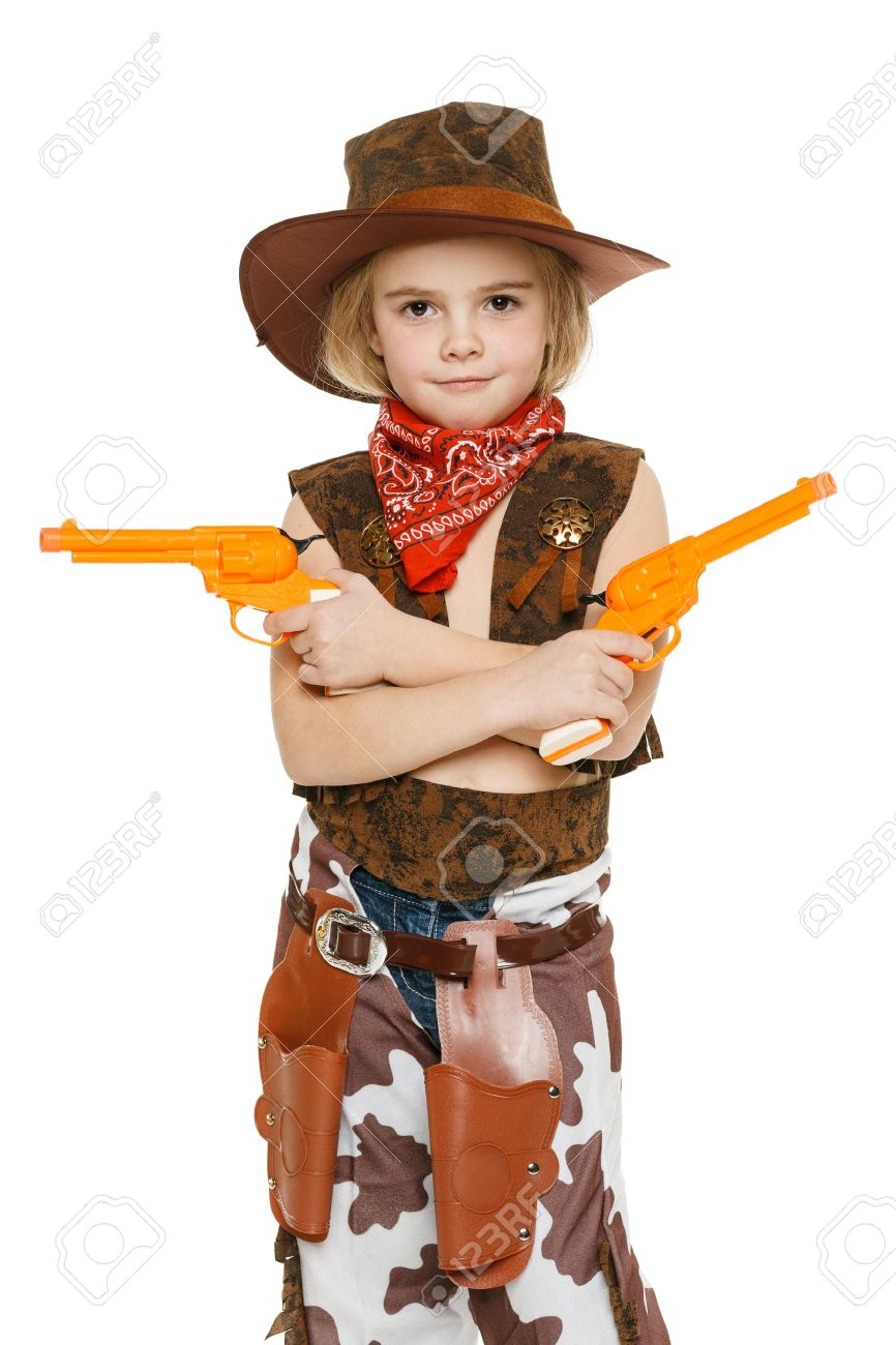 Little girl with wearing cowboy costume holding guns over white backgrounf Stock Photo - 17457817  sc 1 st  123RF.com & Little Girl With Wearing Cowboy Costume Holding Guns Over White ...