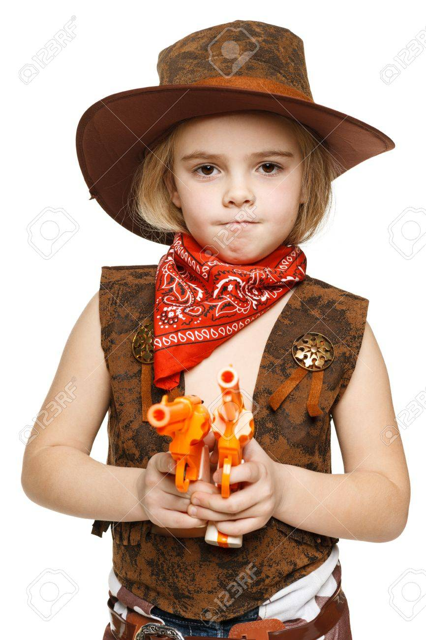 f81c1a436ce4c Angry little girl wearing cowboy costume holding guns pointing at camera