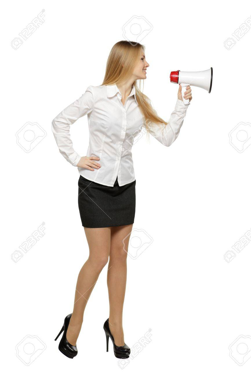 Full length of young business woman with megaphone, over white background Stock Photo - 17861678