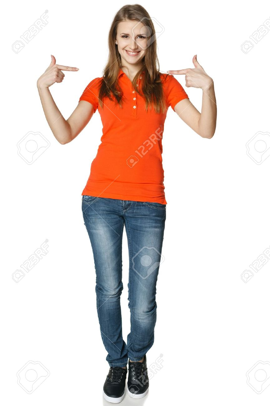 Young casual woman pointing at herself cheering happy standing in full length, isolated on white background Stock Photo - 18183219