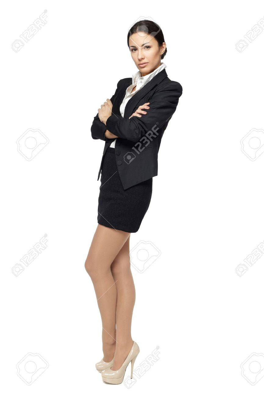 business woman standing in full length with folded hands isolated