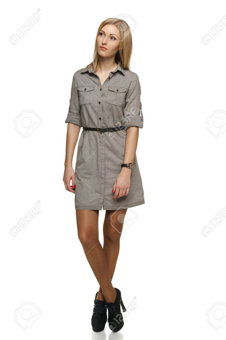 Business people - business woman standing in full body looking up Stock Photo - 19203402