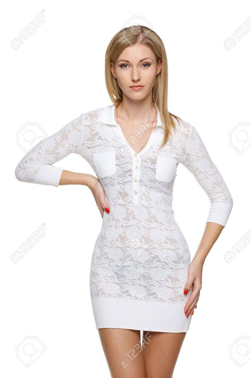 Woman in white lacy dress over white background posing Stock Photo - 19203411