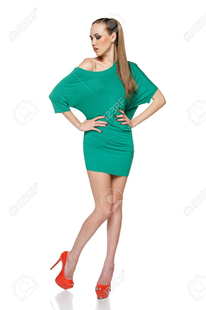 Full Length Wearing Green Dress