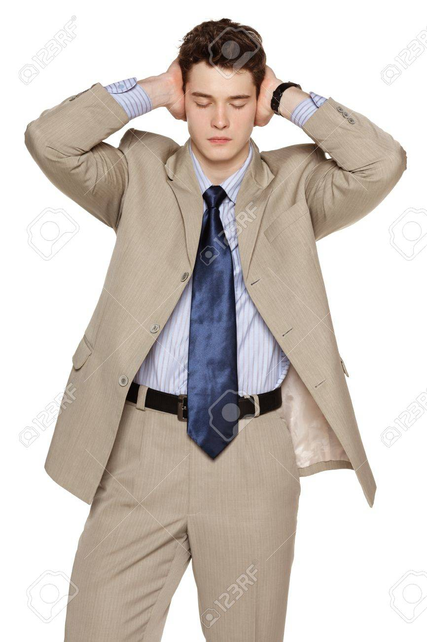 Annoyed businessman covering his ears with his hands Stock Photo - 20206416