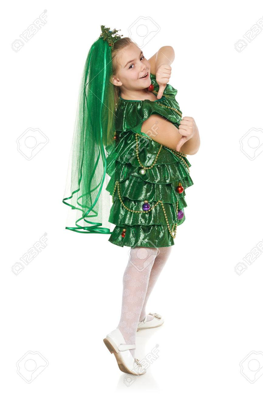 Funny 7 Years Old Girl In Christmas Tree Costume Feeling Happy