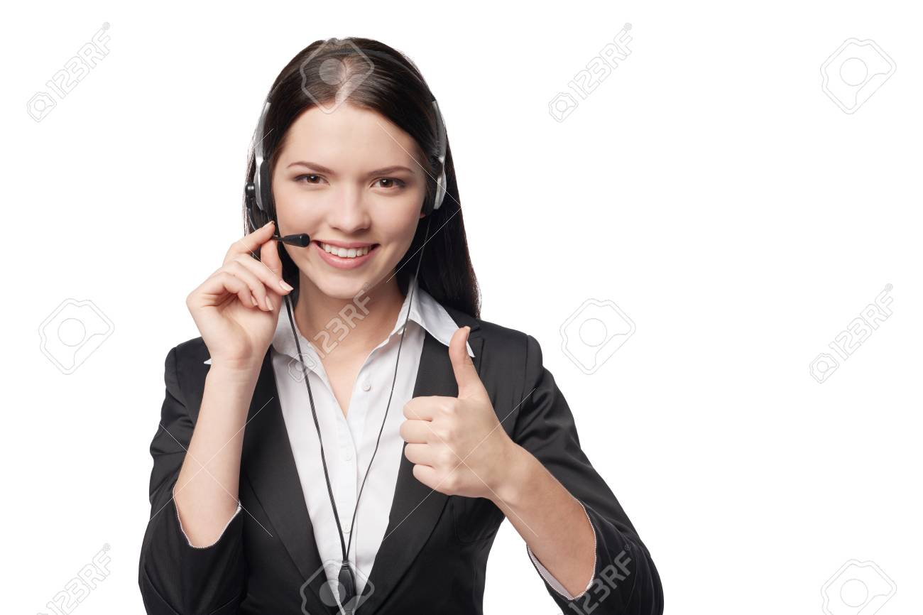 Closeup of happy smiling attractive woman with headphone showing approving sign, isolated against white background - 54034225