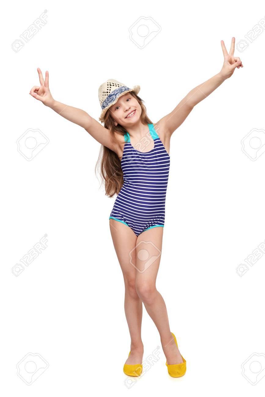 Entero Baño Y De Traje VSobre Cuerpo Dando Sombrero Blanco Verano Fondo En Signos Doble Niña sQCtrdh