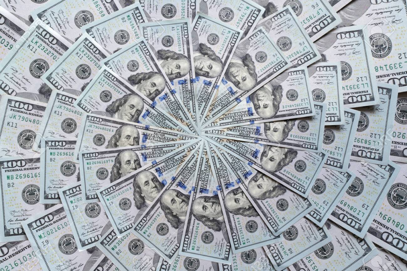 Mandala kaleidoscope from money. Abstract money background raster pattern repeat mandala circle. On white background. - 138146685