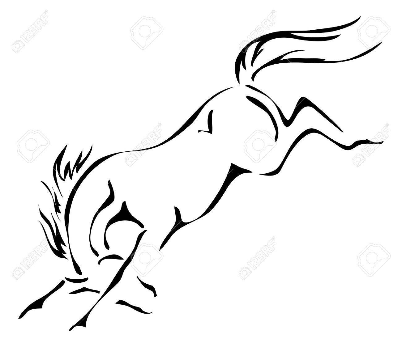 Schwarz Und Weiß Umrisse Bockenden Pferd Lizenzfrei Nutzbare