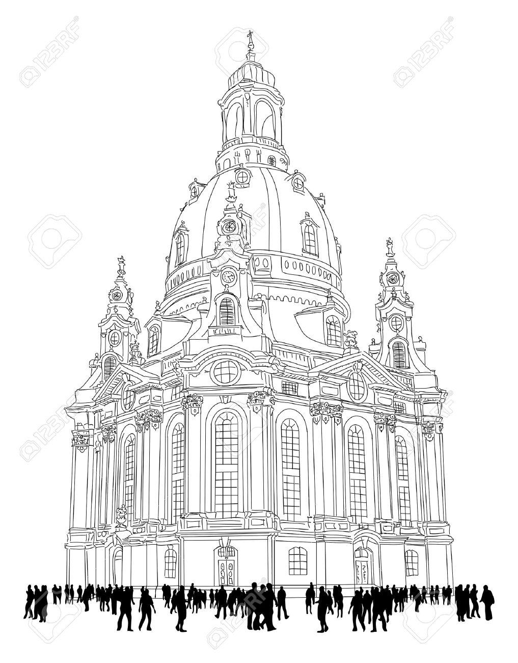 Kirche Unserer Lieben Frau - Dresden, Deutschland Sketch Der ...