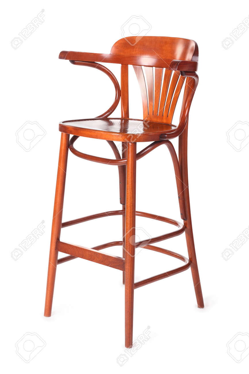 Single Old Wooden High Chair For Child With Back Isolated