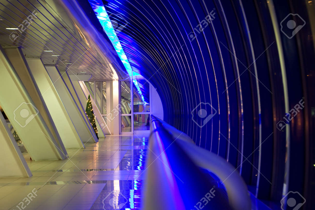 Long corridor with big windows in modern building at night Stock Photo - 12512089