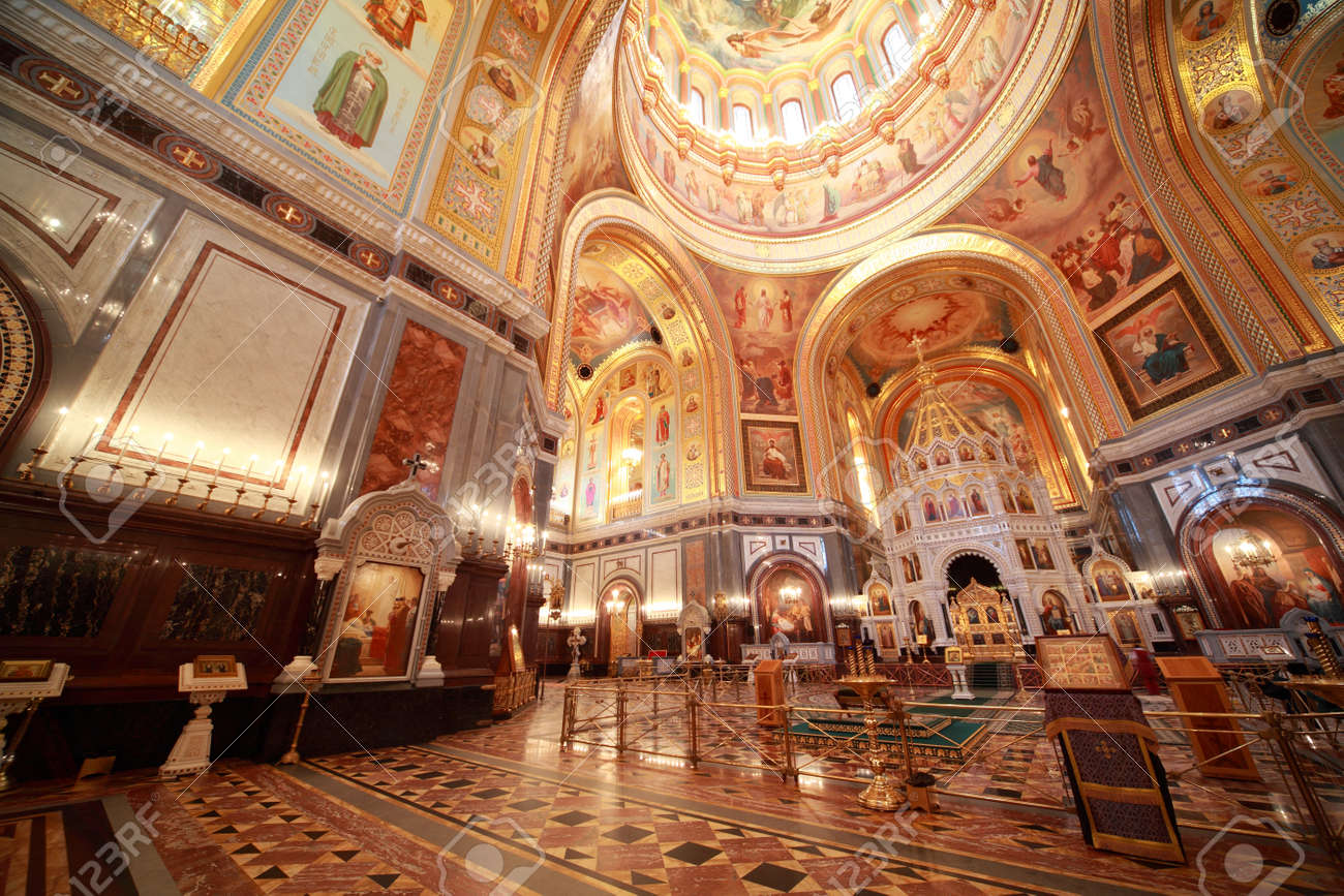 Big Hall Near Altar Inside Cathedral Of Christ The Saviour In