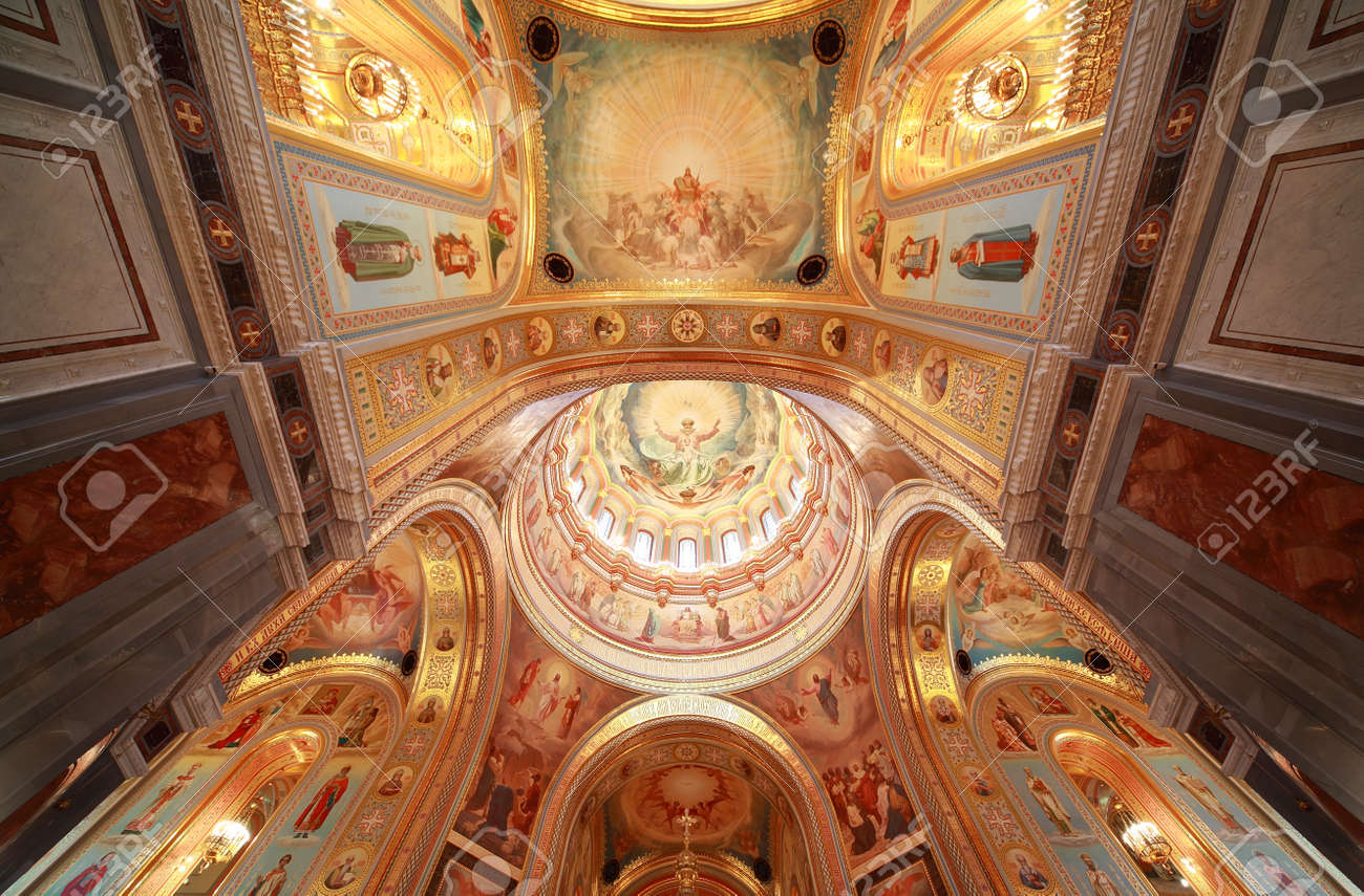 Pictured Ceiling With Archs Inside Cathedral Of Christ The Saviour