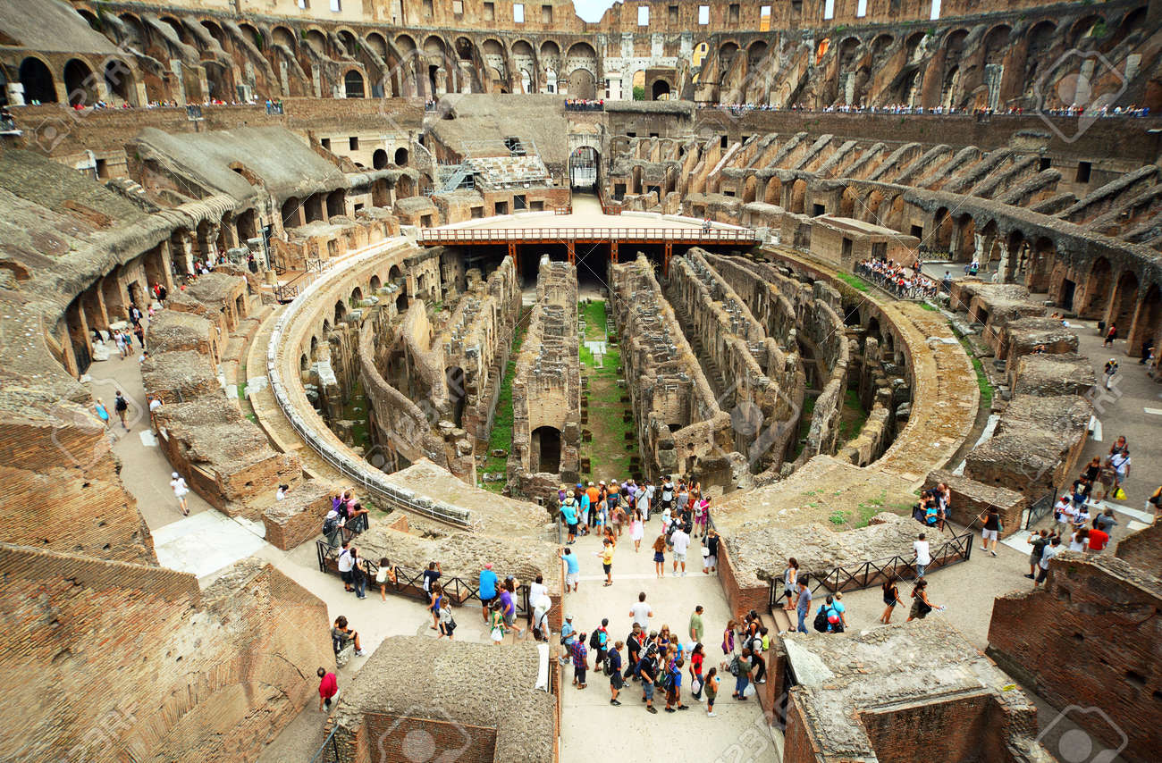 Enter To First Circle Of Arena In Ancient Coliseum In Rome Italy