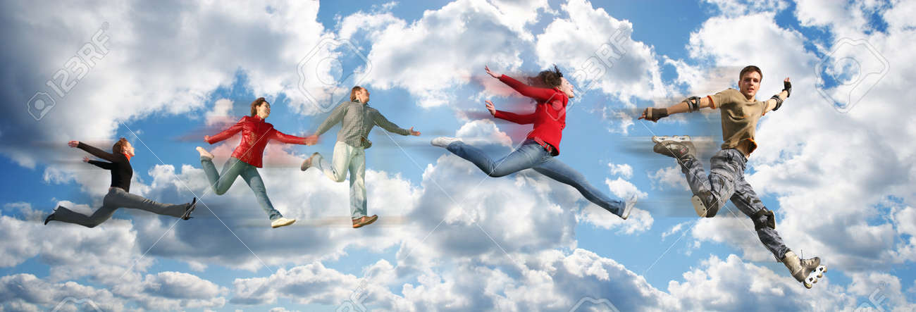 flying people on sky cloud panorama collage Stock Photo - 17749589