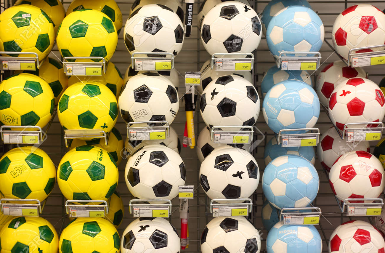 MOSCOW - SEPTEMBER 26: Soccer balls in store, on September 26, 2010 in Moscow, Russia. Moscow authorities plan to spend on development of physical culture and sports more than $10 billion over five years. Stock Photo - 17681728