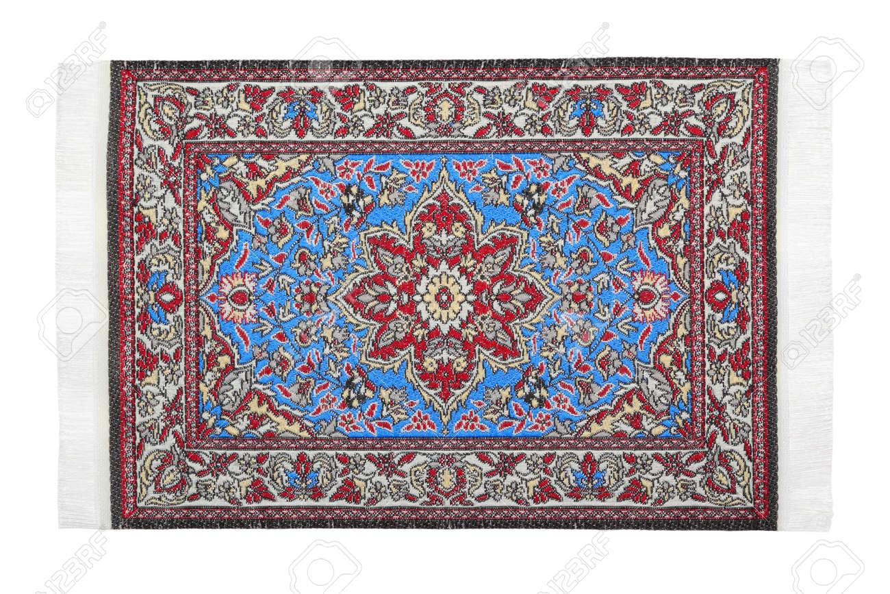 Orientalisch Rot Blauen Teppich Liegt Horizontal Auf Weissem