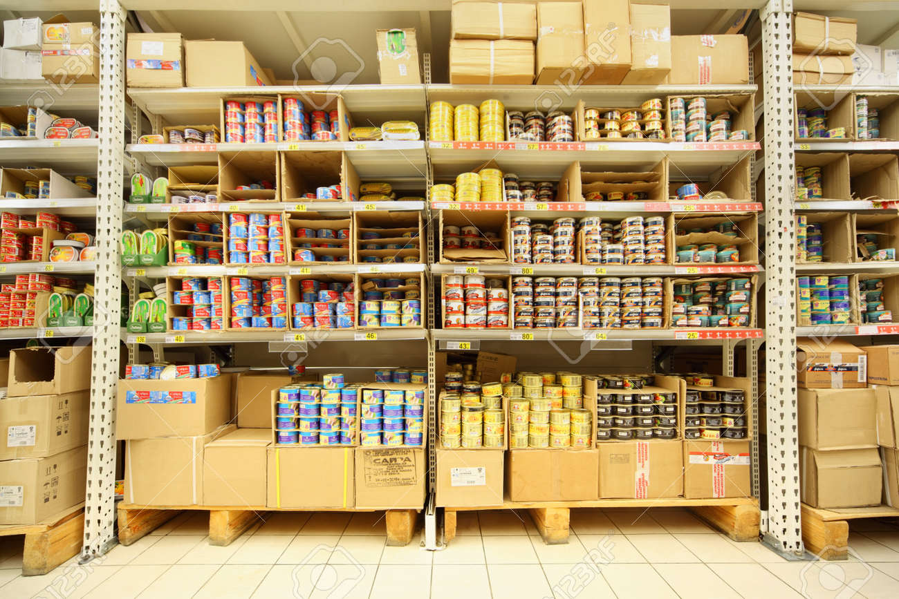 MOSCOW - FEBRUARY 6: Shelves with canned fish in shop, on February 6, 2011 in Moscow, Russia. Russian President Dmitry Medvedev demanded that Federal Agency of Fishery not charge money for fishing. Stock Photo - 17713658