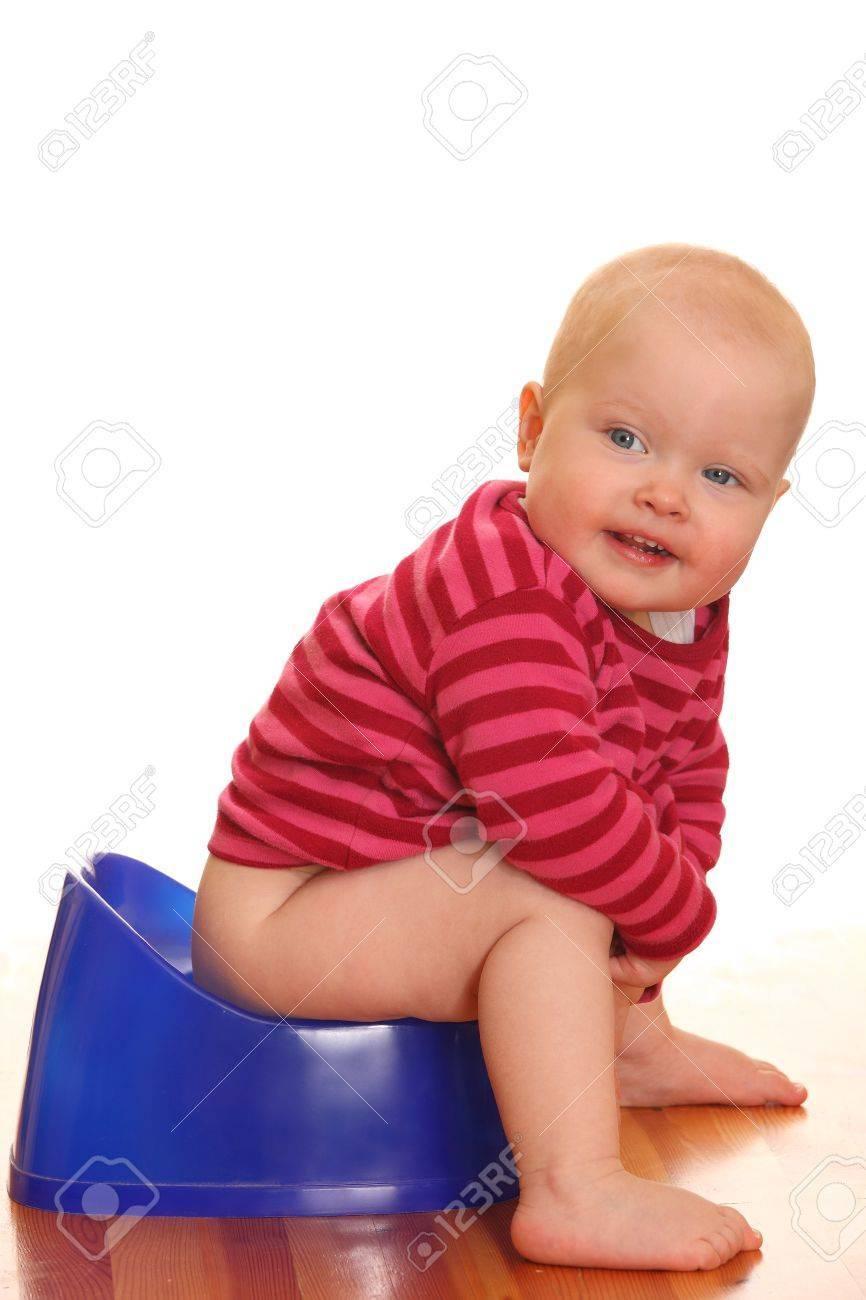 Portrait of a baby girl - Potty training Stock Photo - 9325266
