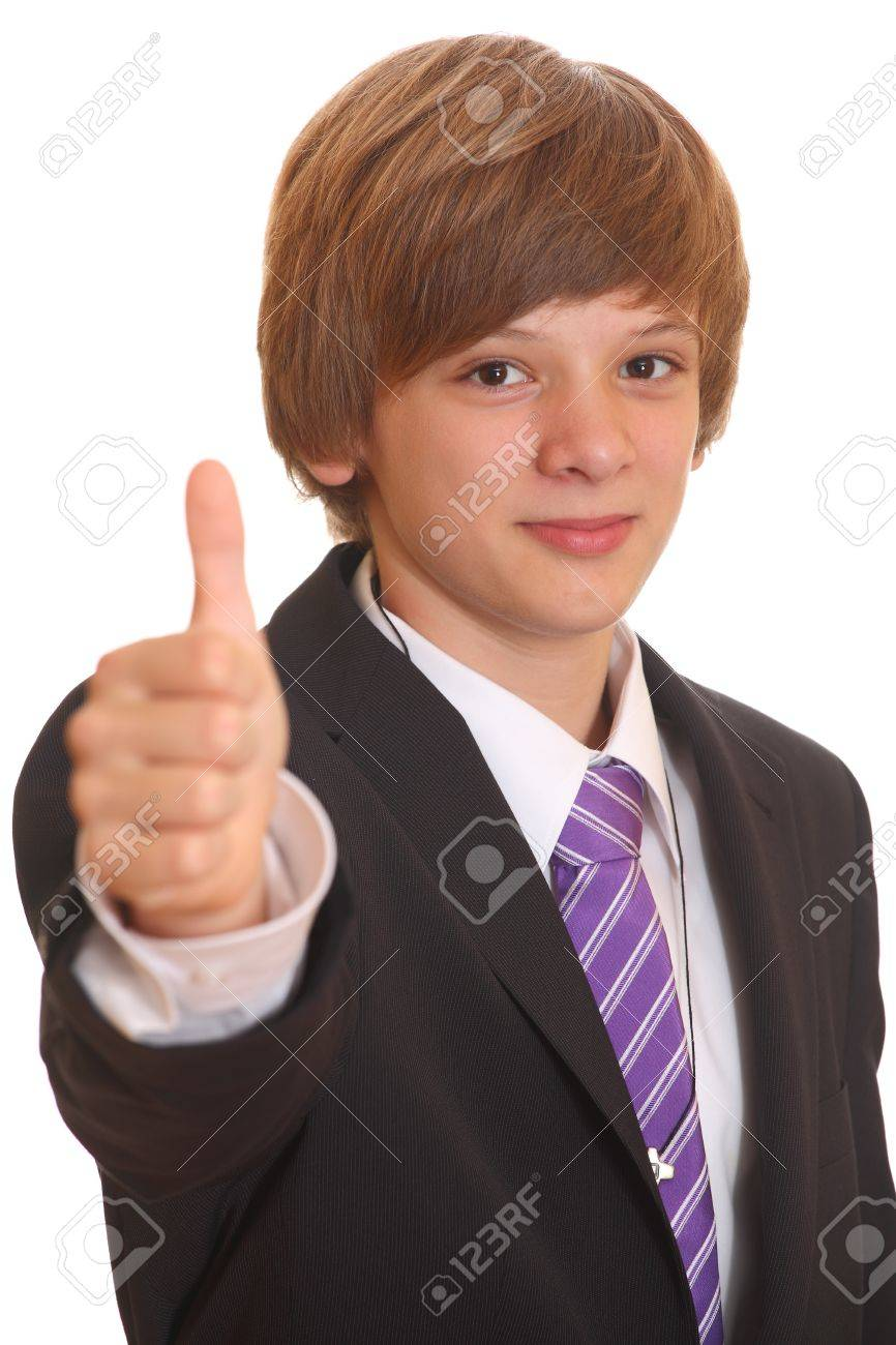 Portrait Of A Teenage Boy In A Business Suit Stock Photo, Picture ...
