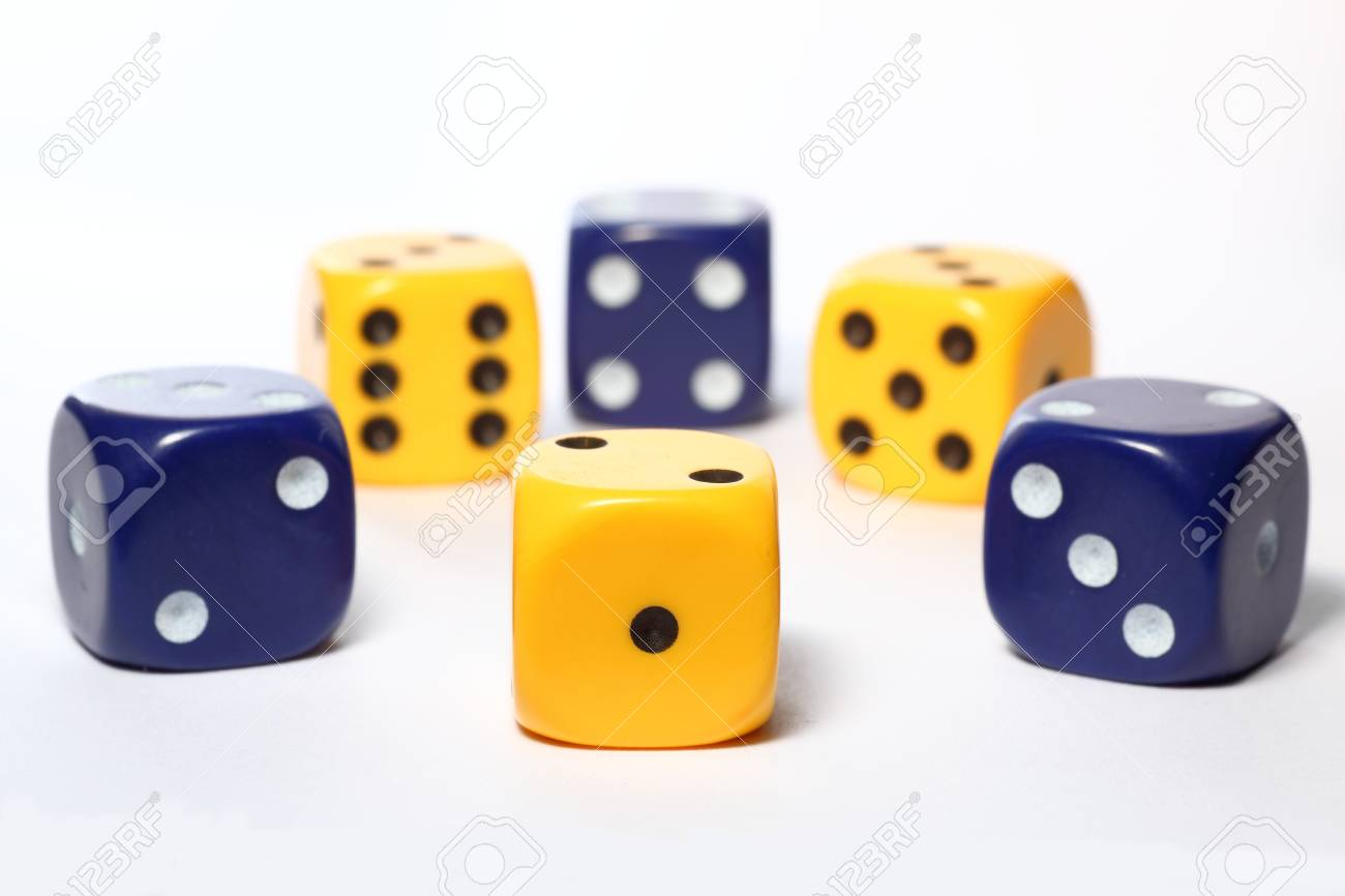 Six yellow and blue dice on white background Stock Photo - 9815386