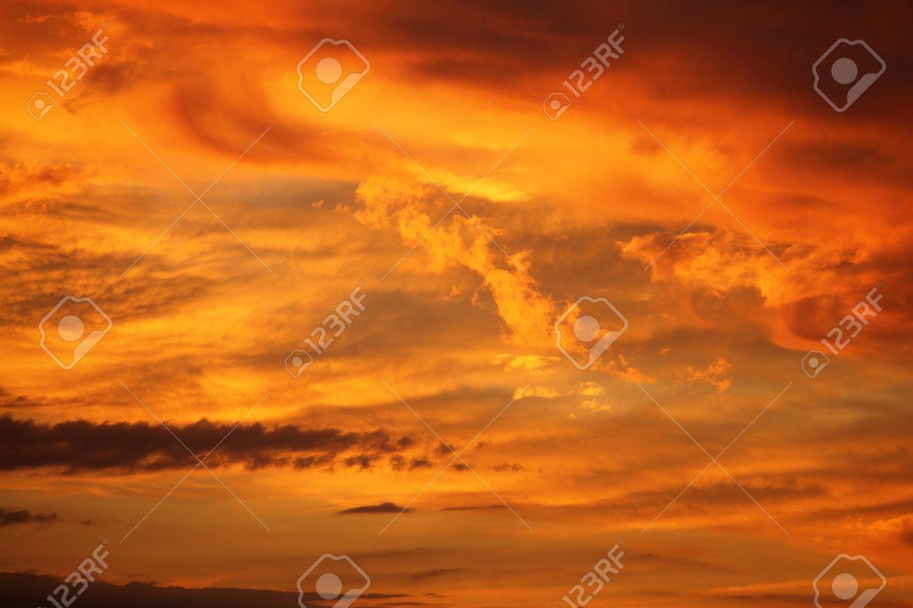 Impressive View From Heaven With Bright Orange Clouds Stock Photo ...