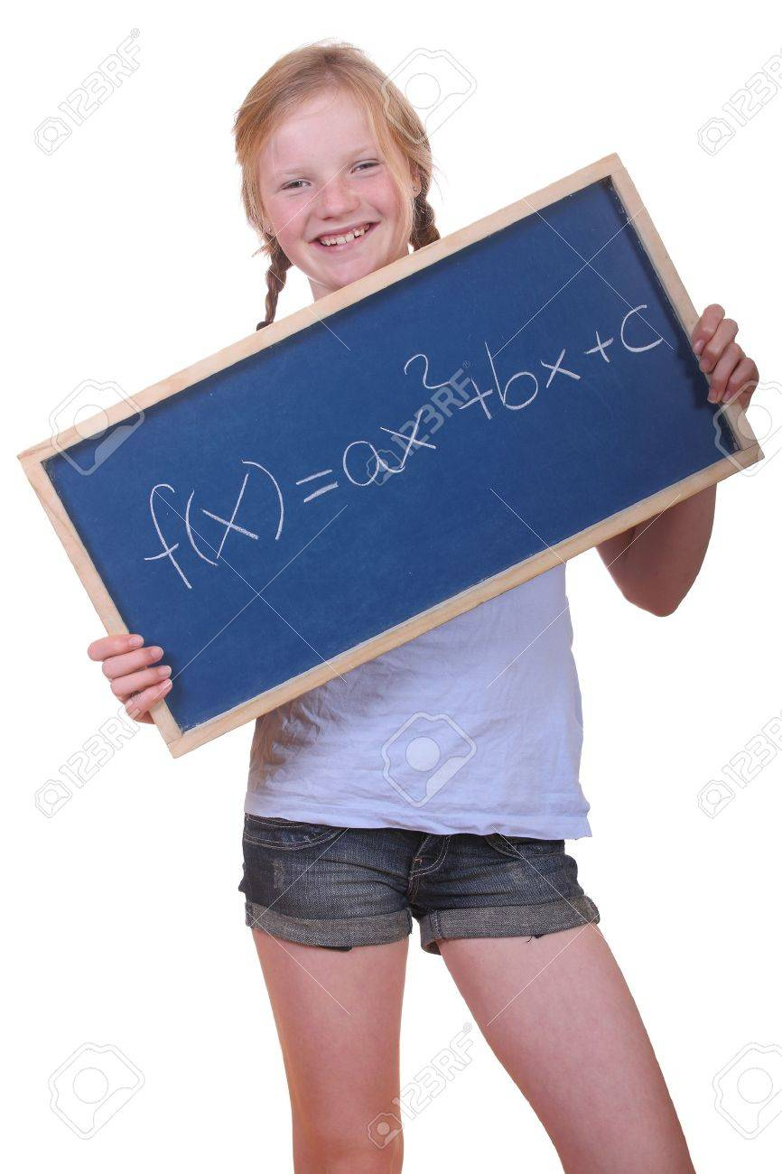 Smart Young Math Student Showing A Quadratic Equation Stock Photo ...