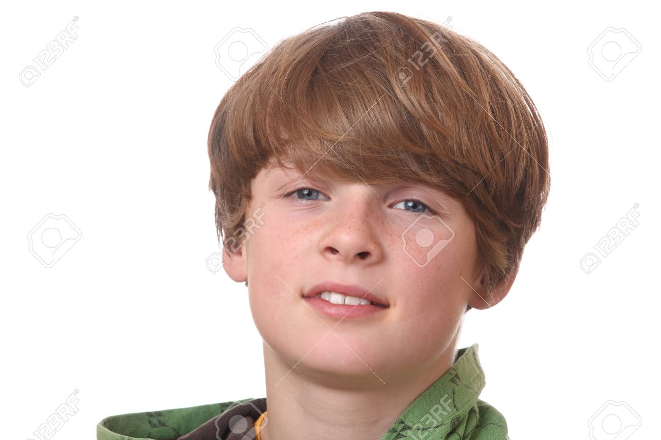 Portrait of a happy young boy on white background Stock Photo - 16763199
