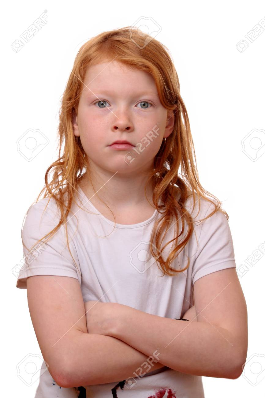 Portrait of a sad young girl on white background Stock Photo - 17342157