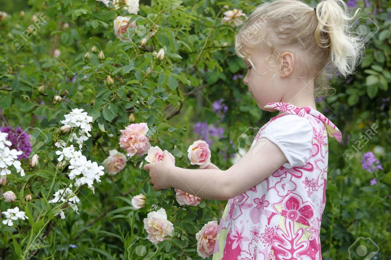 Adorable Chica Joven Disfruta De Unas Rosas En El Jardín Fotos ...