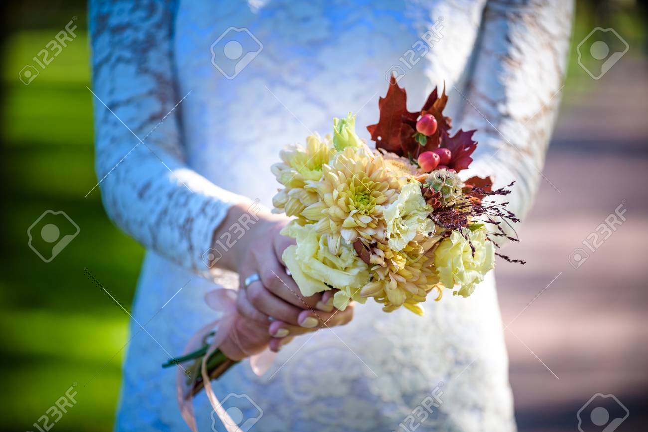 Fall Wedding Bouquets.Bride Holding Colorful Elegant Modern Autumn Wedding Bouquet