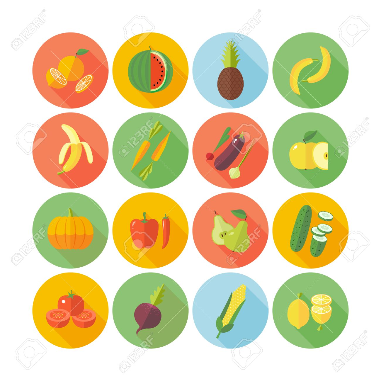Set of flat design icons for fruits and vegetables. - 37358303
