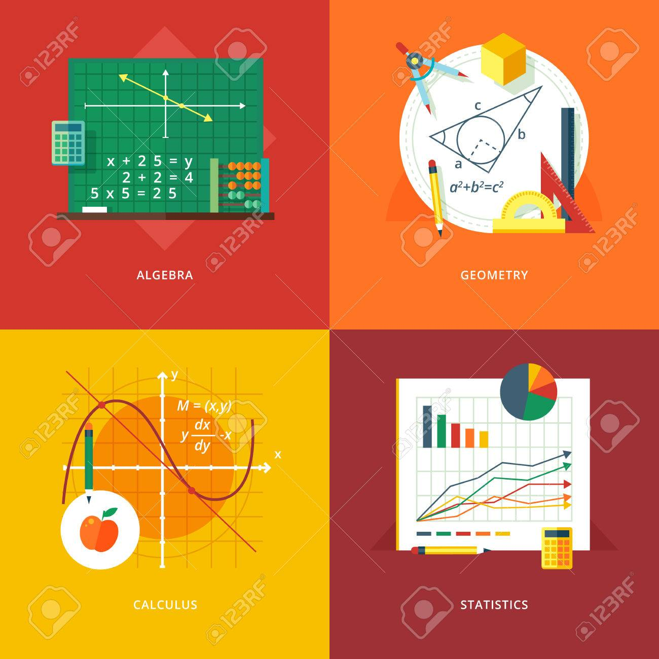 Set of flat design illustration concepts for algebra, geometry, calculus, statistics.  Education and knowledge ideas. Mathematic science.  Concepts for web banner and promotional material. Stock Vector - 52588686