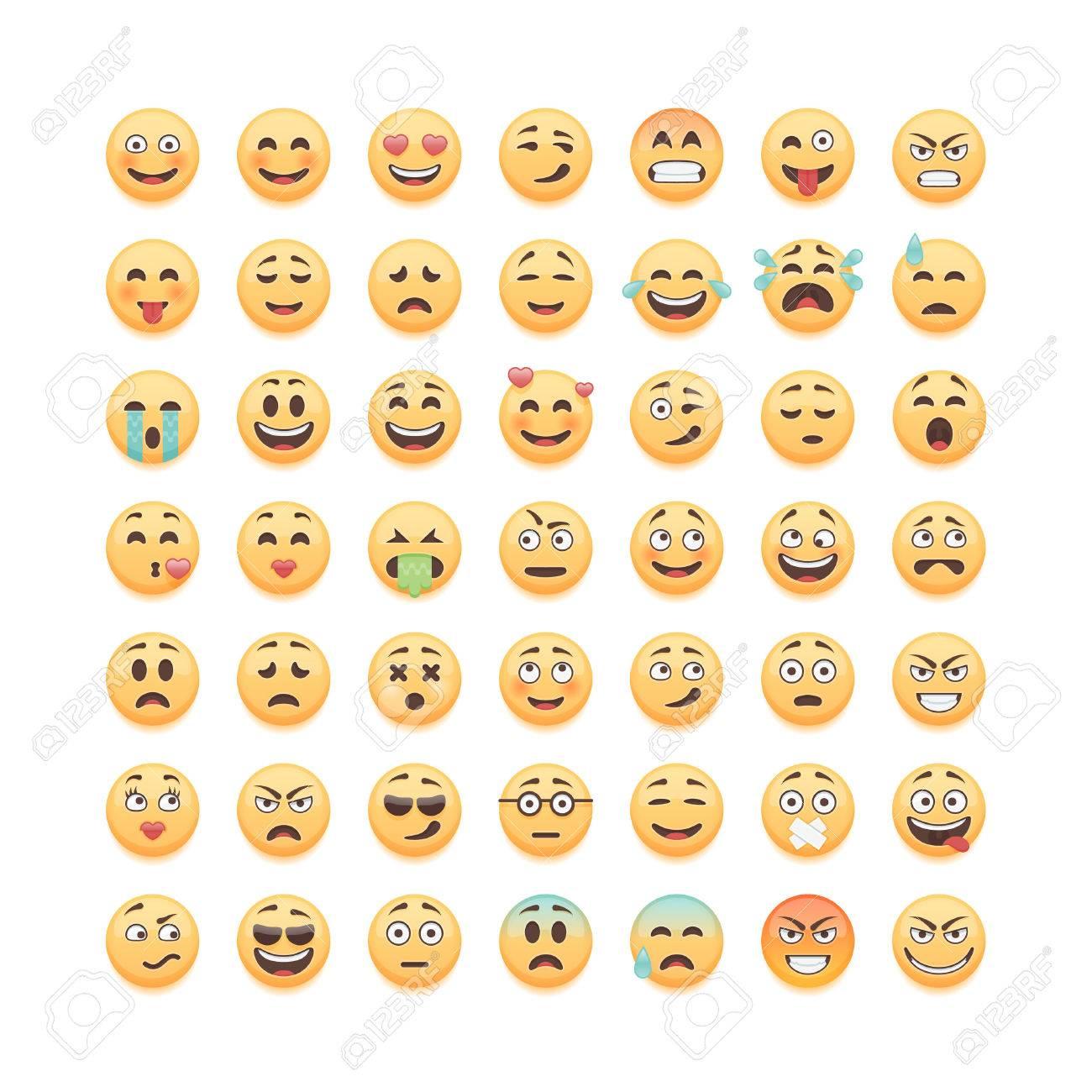 Set of emoticons, emoji isolated on white background, vector illustration. - 56722665