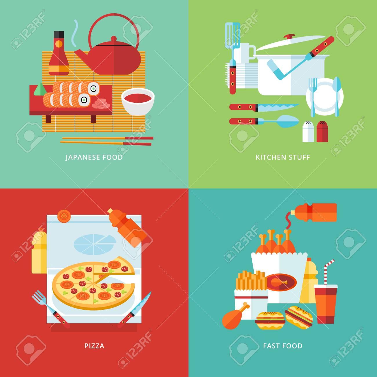 Food And Kitchen Concept Illustration. Japanese Sushi Food ...