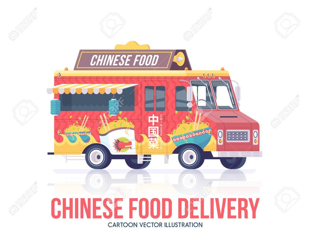 Chinesisches Essen LKW. Vector Nationale Traditionelle Chinesische ...
