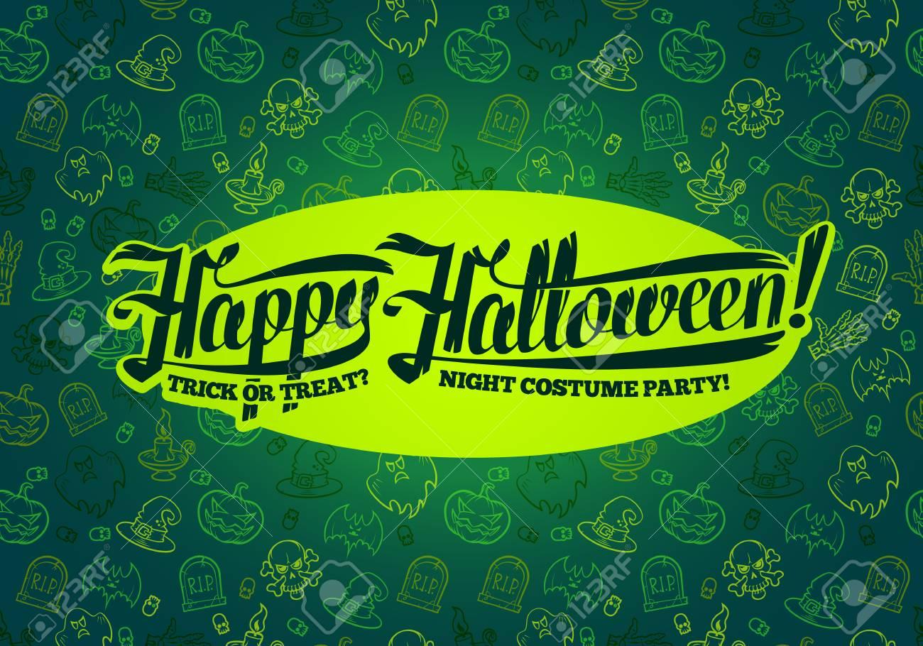 happy halloween message on bright texture greenbackground vector