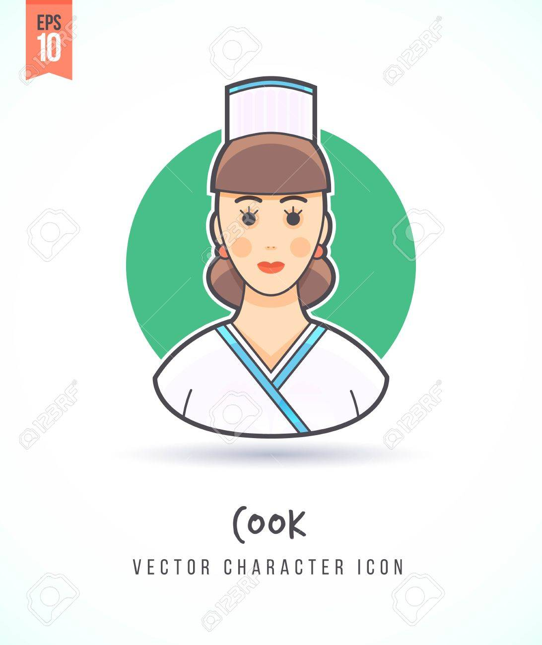 Chef Cuisinier Dessin Animé Femme Gens Illustration Mode De Vie Et L