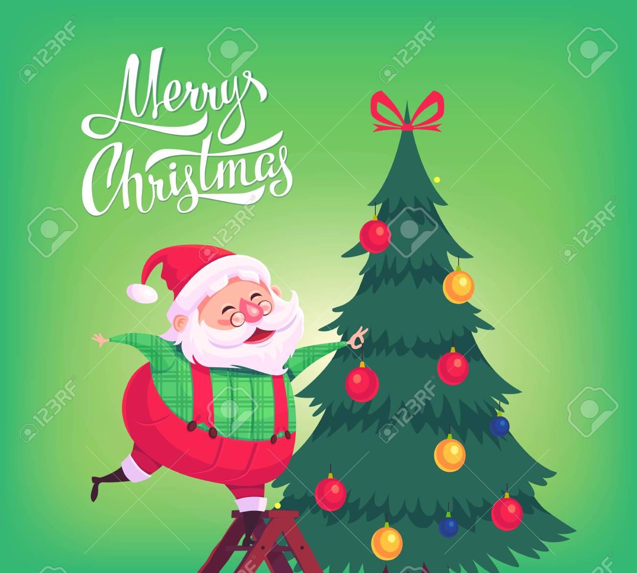 Cute Cartoon Santa Claus Decorating Christmas Tree Merry Christmas ...
