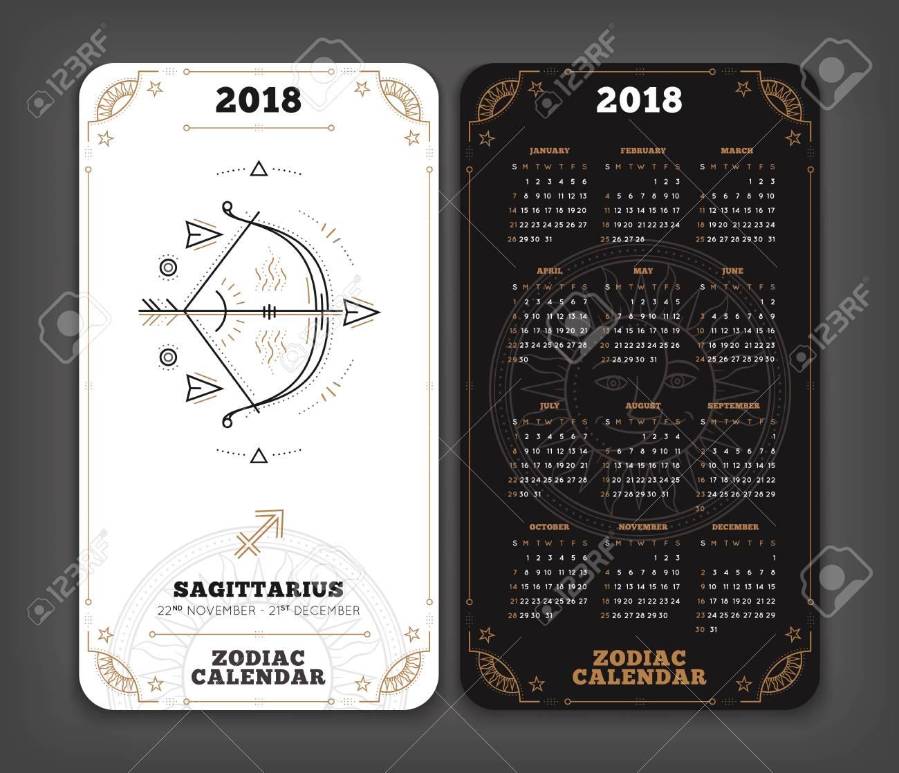 sagitario 2018 año zodiaco calendario de tamaño vertical de bolsillo