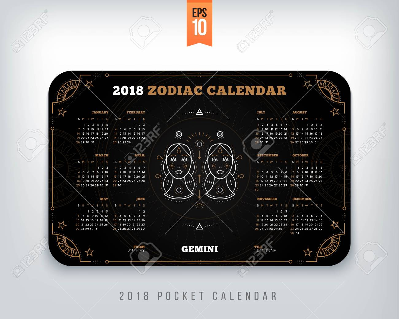 diseño horizontal del tamaño de bolsillo del calendario del zodiaco