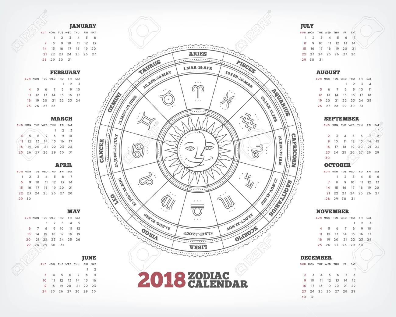 Zodiac Calendar June : Zodiac circle year calendar poster vector illustration stock