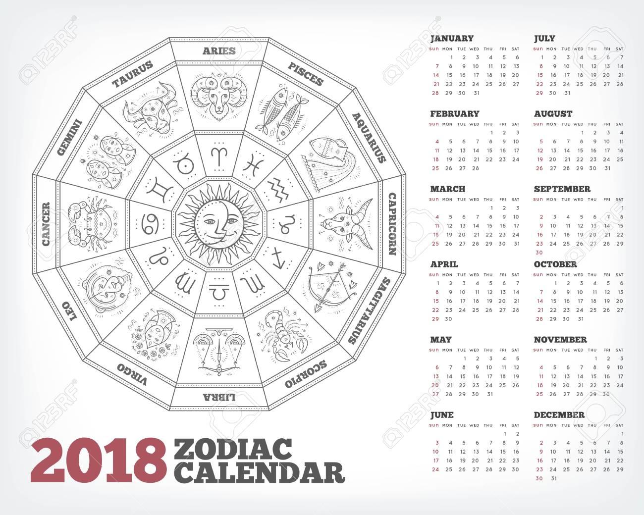 Calendario Zodiacal.Circulo Del Zodiaco 2018 Ano Calendario Ilustracion De Vector De Cartel